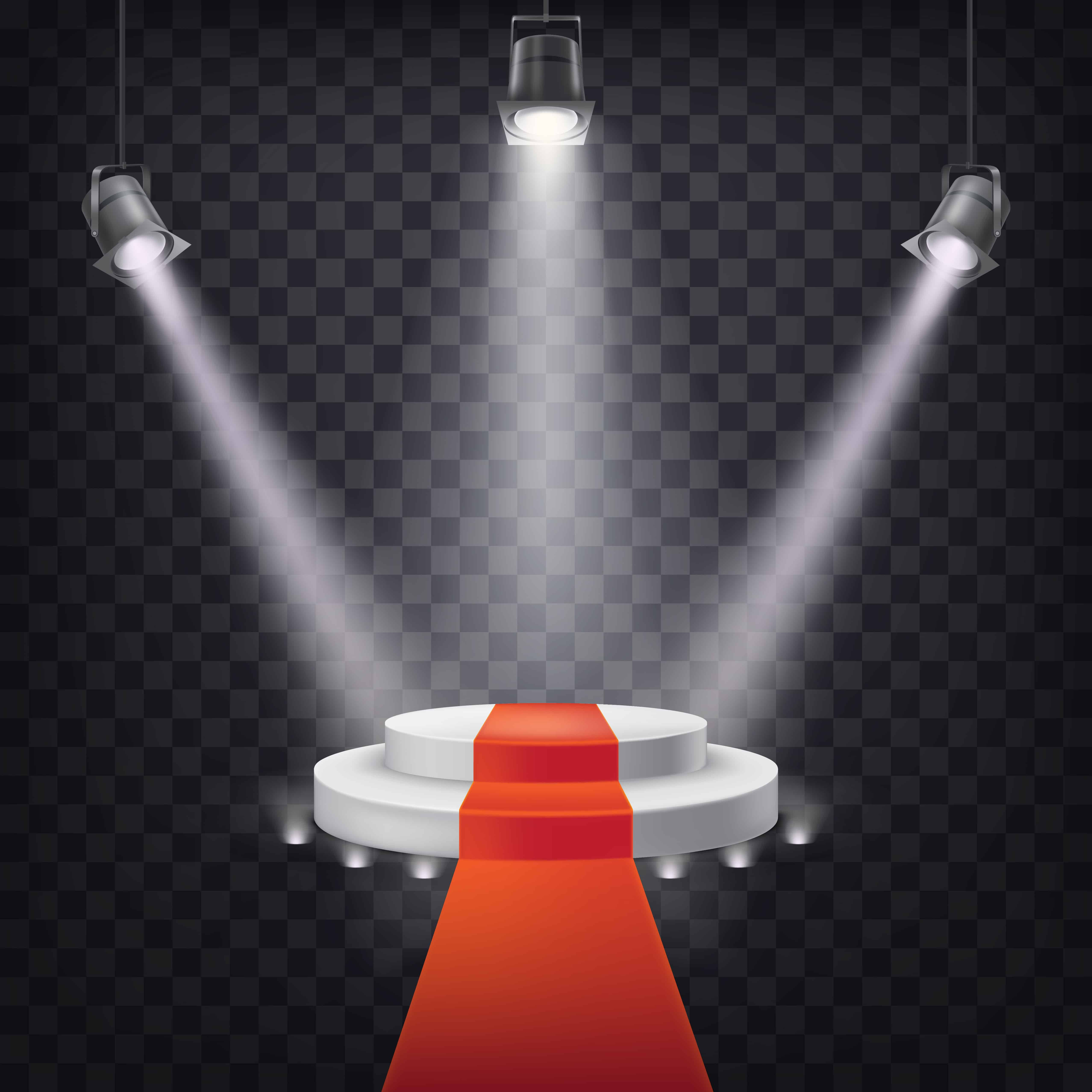 Set of vector scenic spotlights on a dark background with a podium and red carpet